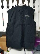 Mens Harley Davidson Black Button Sleevless Blowout Work Shirt XL Mechanic