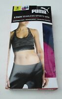 Ladies PUMA Sports Bra Twin 2 Pack Seamless Black Grey Blue Purple S M L XL New*