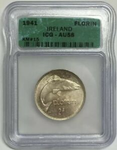 1941 Ireland Florin About Uncirculated ICG AU58