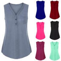 Women V Neck Sleeveless Vest Tank Top Tunic Summer Casual Plain Blouse T Shirts