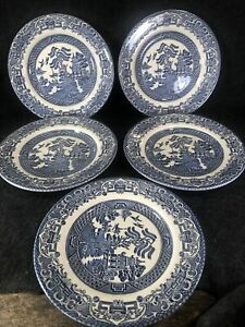 """SET of 7 BLUE WILLOW EIT IRONSTONE SOUP SALAD SERVING BOWLS MADE IN ENGLAND 9"""""""