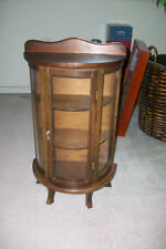 Vintage Wood and Curved Glass Wall...Counter Curio Cabinet