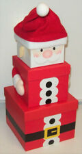 Set of 3 Nested Stackable Christmas Eve Gift Boxes Square - Plush Santa