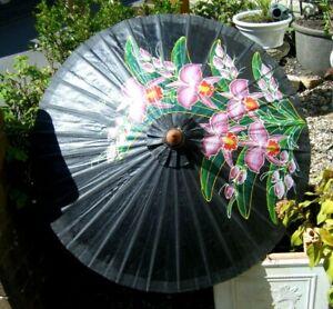 Vintage Chinese Paper Parasol Umbrella Pink Flower Floral on Black
