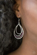 Paparazzi jewelry purple rhinestones silver frame asymmetrical teardrop earring