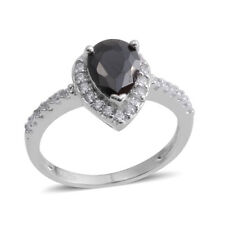 PEAR BLACK SIMULATED DIAMOND HALO SOLITAIRE ACCENT RING SIZE 6.5 STERLING SILVER