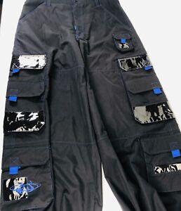 Macgear mens pants 34 Pants Cargo Pockets Punk Rave Skater Baggy Wide Leg Blue