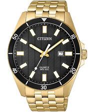 Citizen BI5052-59E Men's SL Gold Tone Stainless Steel Black Dial Analog Watch