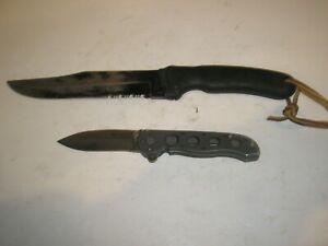 CRKT SAWTOOTH 2000 BOWIE HUNTING KNIFE & CRKT CARSON DESIGN M21-02 POCKET KNIFE