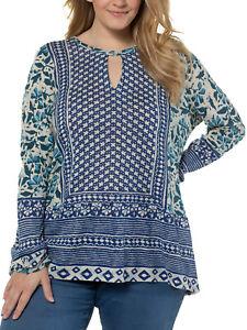 ULLA POPKEN Blue BOHO Print Fine Knit Top Sz 16/18 20/22 24/26 28/30 32/34 36/38