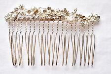 Rhinestone Faux Pearl Hair Comb Silver Tone Formal Wedding Hair Accessories