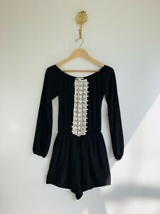Miami Small Black White Crochet Off The Shoulder Romper Long Sleeve Lined
