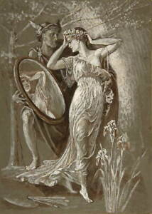 Walter Crane The Mirror of Venus Poster Reproduction Giclee Canvas Print