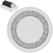 Multi Crystal Diamante 20cm Mirrored Glass Decorative Display Round Candle Plate