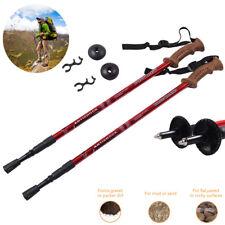 2 Trekking Walking Hiking Sticks Trail Poles Adjustable Anti-shock All Terrain