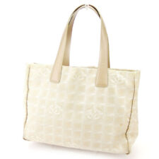 CHANEL Tote Bag New Travel Line Beige Nylon Jacquard  Leather Auth used T16997