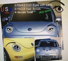 Car Bedroom Angel Eyes EYELASHES headlight EYEBROW Face black decal sticker USA