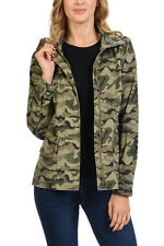 Auliné Collection Women's Drawstring Utility Anorak Military Camo Jacket