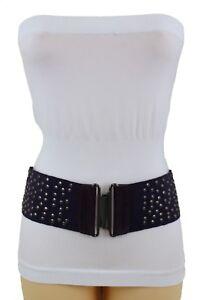 Women Dark Purple Wide Belt Elastic Fabric High Waist Hip Metal Stud Buckle M L