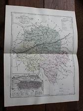 1850 Carte Géographique Atlas époque couleur Département 37 Indre et Loire Tours
