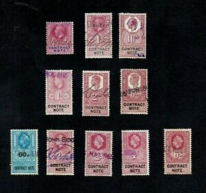 1910s-60s. 11 x DIFFT 'CONTRACT NOTE' REVENUE STAMPS TO 10/-. Fiscal. V.G.U.