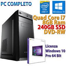 PC Computer Desktop Fisso Assemblato (Intel Quad Core i7, 8GB, SSD 240GB) - Nero
