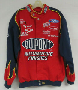 NASCAR RACING JACKET DUPONT JEFF GORDON FLAMES CHASE AUTHENTICS MENS LARGE