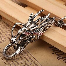 Stainless Steel Chinese Totem Dragon Head With Ring In Mouth Pendant Necklace