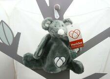 Périclès doudou souris gris foncé fourrure avec attache-tétine  30 x 20 cm