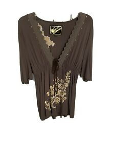 Soul Revival, Size L Blouse, Embroidered , Brown