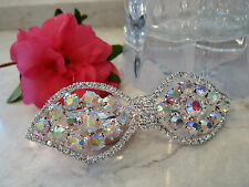 Bow shaped crystal hair barrette clip bridal clip bridal barrette