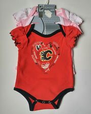 NWT Official NHL Calgary Flames Baby One Piece Set of 3 Size 12M