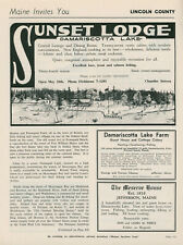 1961 Sunset Lodge Vintage Travel Ad Damariscotta Lake Lincoln County Maine ME