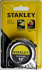 12' foot stanley chrome tape measure blade durability multi catch hook new feet
