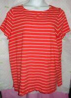 $89 Michael Kors orange white stripe gold zip shoulders 2X Blouse split hips top