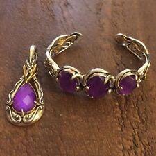Carolyn Pollack Coronation mixed Metal Purple Triplet Cuff and Enhancer SET