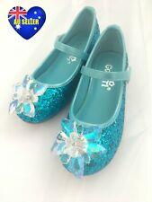 Girls Blue Princess Elsa Frozen Crystal Glitter Shoes Sandals AU seller