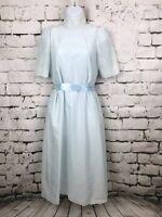 Vintage 70s Modest Prairie Style Light Blue Dress High Neck Eyelet Size Small