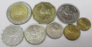 LIBYA FULL SET HORSE MAN COINS 8 Pcs. 1 Dirham to 1/2 Dinar UNC 1979 - 2004