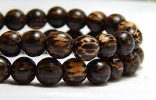 50 8mm Natural Old Palm Wood Beads Wooden Round Nature Brown DIY Craft D-P07