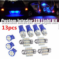 13PCS Car Interior Light Blue LED Bulbs T10 & 31mm License Plate Auto Lamp Kit