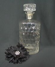 Vintage Empty Heavy Thumbprint Glass Whiskey Bottle Decanter with Glass Stopper