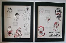 Clown Print Gladys Emerson Cook How Clowns Put On Makeup 2 Bookplate 1956 Matted