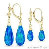 Fiery Pacific Blue Lab Opal 14k Yellow Gold Leverback Dangling / Drop Earrings