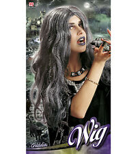 NEW ADULT CRUDELIA BLACK AND GREY HALLOWEEN WITCH PARTY WIG FANCY DRESS
