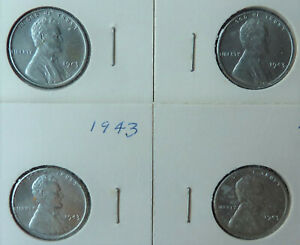 """Lot of 4 Uncirculated 1943 """"wartime"""" steel Lincoln Cent"""