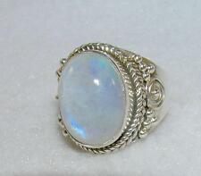 Balinese Rainbow Moonstone Oval Ring Sterling Silver Size 6.5