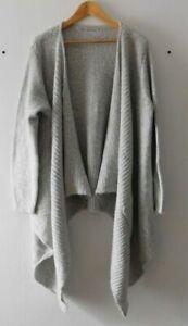 George Women's Casual Grey Long Sleeve Asymmetric Open Cardigan Pockets Size 22
