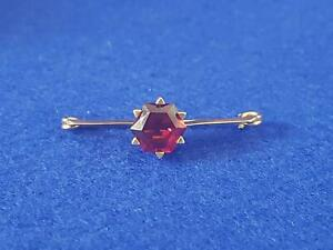 Gorgeous Antique 1900s 9ct Yellow Gold & Almandine Garnet Bar Brooch 2.4g