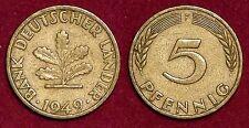 5 pfennig 1949F Bank Deutscher Lander GERMANY Deutschland Allemagne